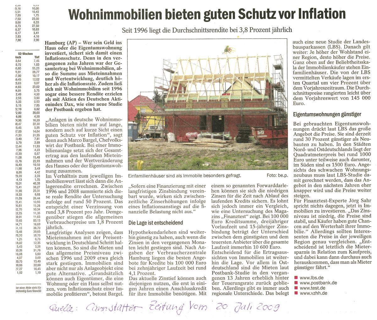 Presse-2009-Juli-20-Cannstatter-Zeitung-Wohnimmobilien-bieten-guten-Schutz-vor-Inflation